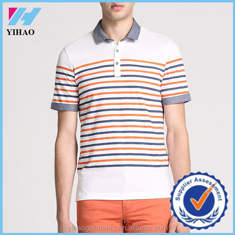 Yihao Custom Striped Color Mens Polo Golf Shirts Wholesale Cotton Polo Shirts Garment