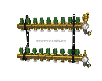 "1"" PEX-AL-PEX Combined brass manifold unfloor heating system adjustable flow valve Automatic Air Vent(2-10 loop)"