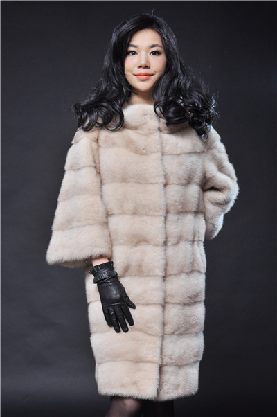 natural mink fur coat palamino light yellow and dark grey new fashiona of 2016 woman natural