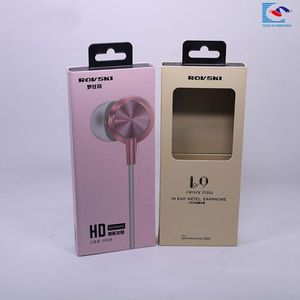 Chinese suppliers custom clear window earphone packaging hang box