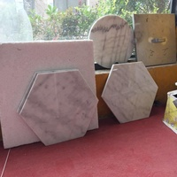 Custom carved cheap wholesale price hexagon white marble coasters