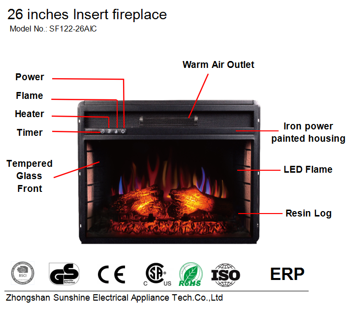 220V 1800W-2000W Electric Fire Place Insert Electric Fireplace Heater