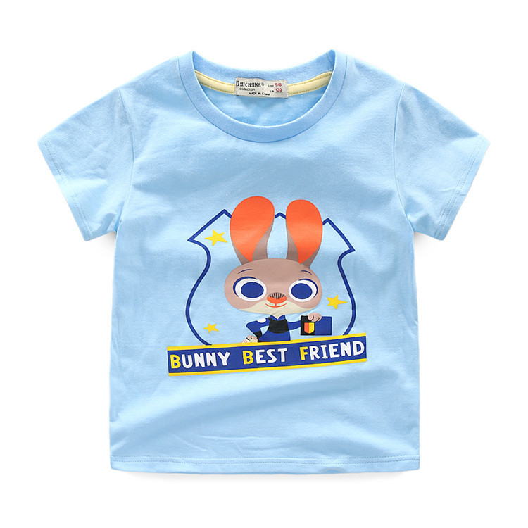 Custom screen printing 100% combed cotton children clothing light blue t shirts