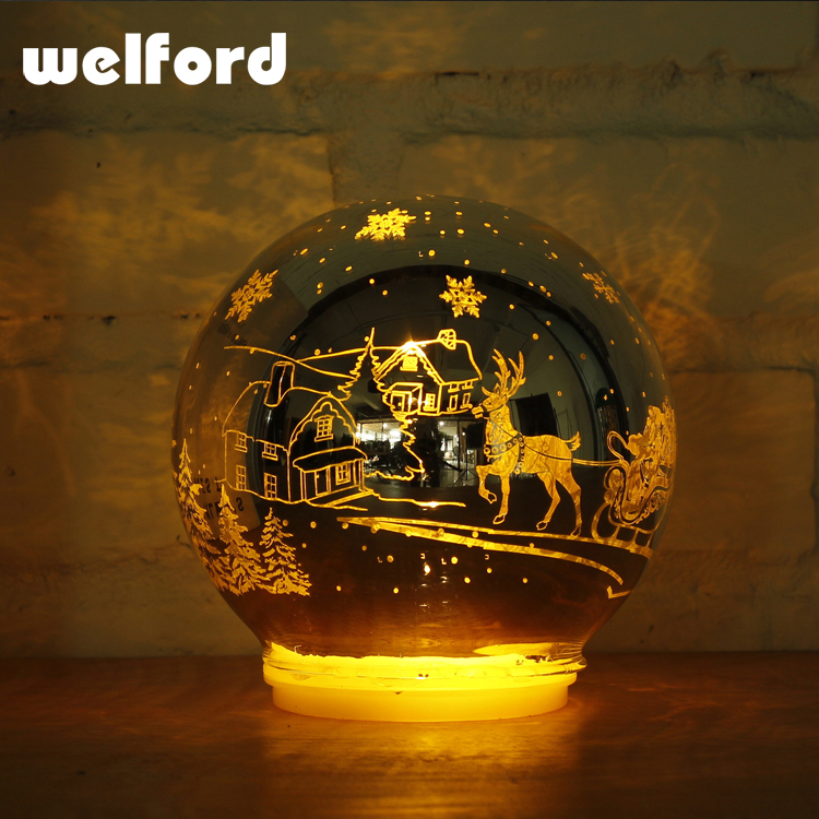 Snow globe shape crafts LED floating desk lamp for holiday