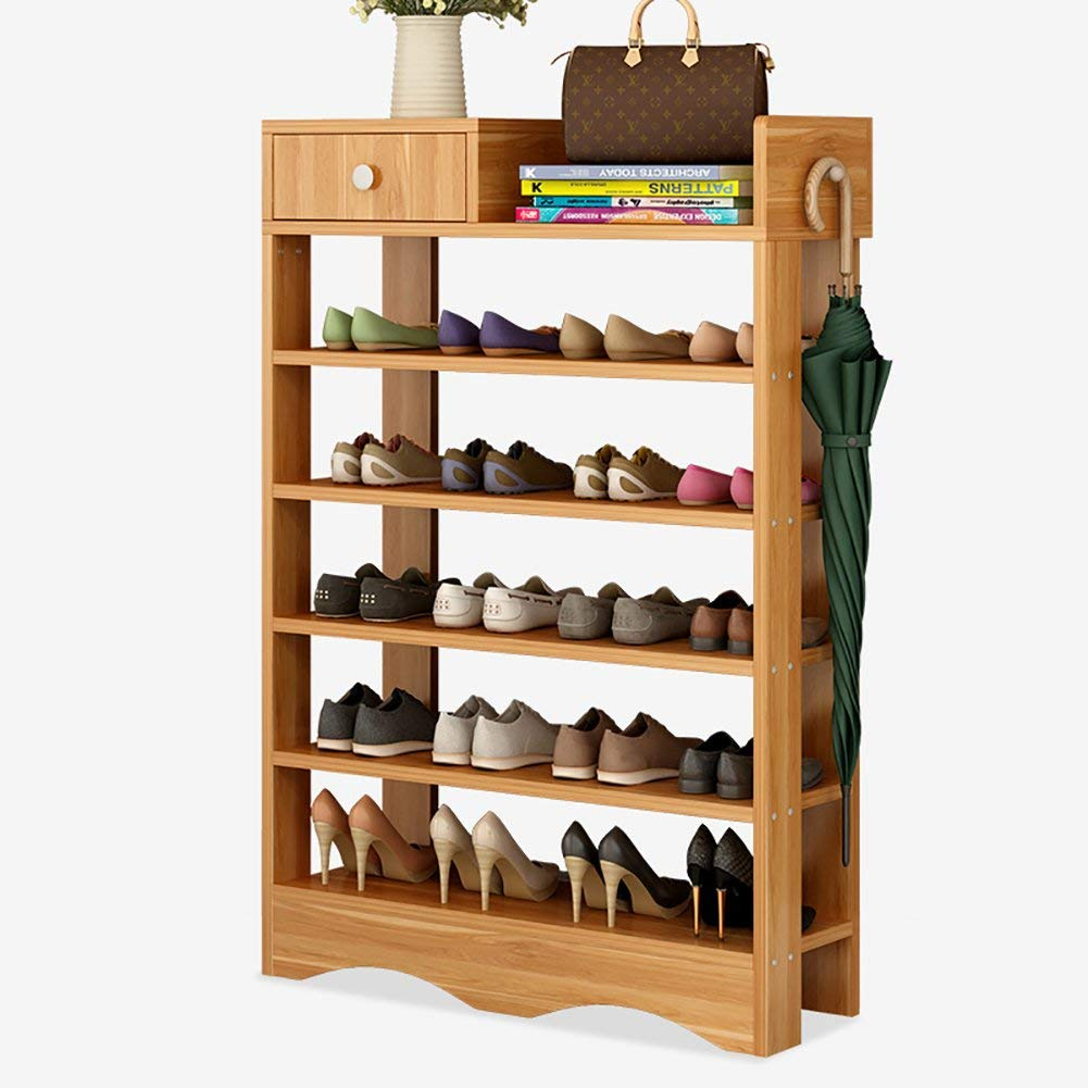 Get Quotations L J 5 Tier Shoe Shelf Cabinet With Drawer Multifunctional Solid Wood Storage Easy