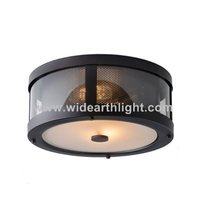 UL CUL Listed Painted Black Metal Ceiling Light Fixture With Mesh And Glass Diffuser C81382