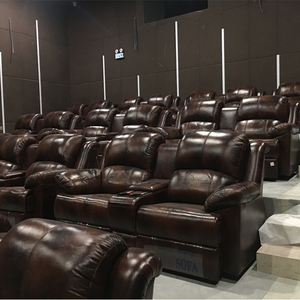 CH-608 high end red genuine leather home theater sofa,confortable home theatre seats