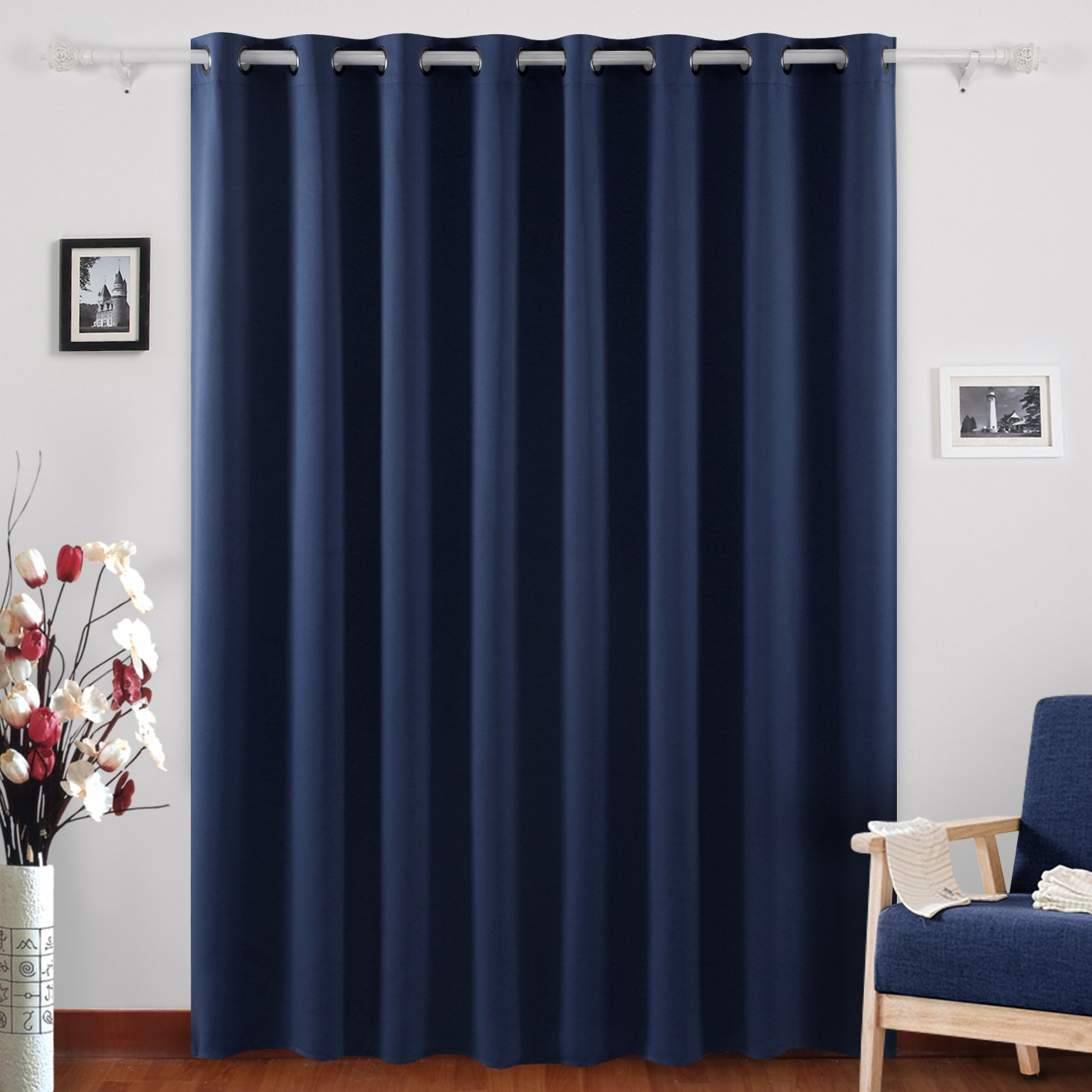 overstock curtains home free panel width garden blackout curtain shipping aurora wide grommet linen look product today heathered