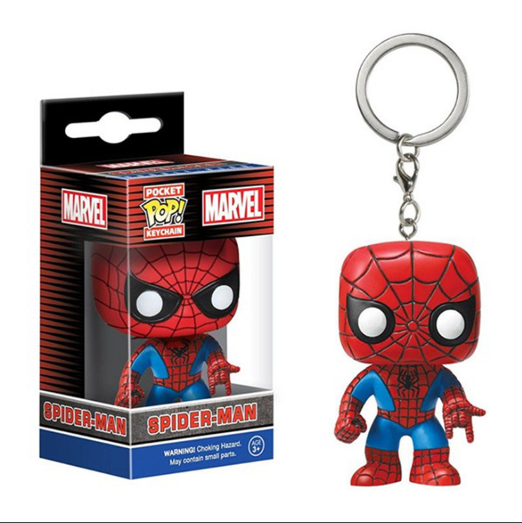 Popular 3D Plastic Soft Rubber Keychain With Super Lron Mans FUNKO POPO Marvel Q Version PVC keychain