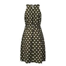 Женское платье с лямкой на шее Feitong, летнее модное платье в горошек до колена, платья без рукавов с открытыми плечами, повседневное свободное...(Китай)