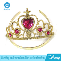Gold kids Plastic Tiara wand Combs Princess Queen Crown Halloween Sparkle Dress-Up
