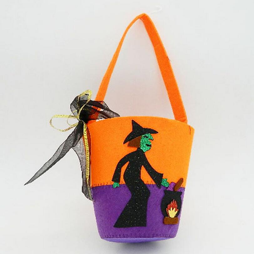DM 715 Halloween deoration orange and purple joint sorcerer pattern gift bucket halloween candy bags