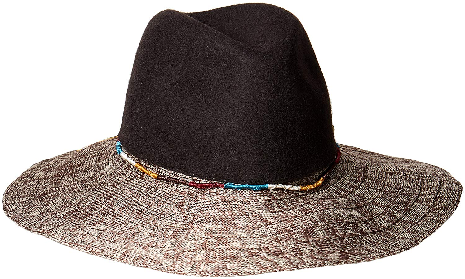 Get Quotations · San Diego Hat Company Women s Pinched Wool Crown Fedora Hat  With Knitted Brim and Cord 39d218af810b