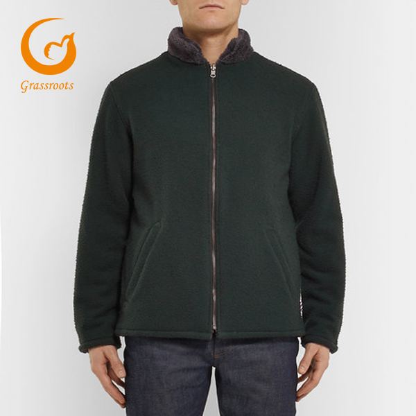 wholesale warm hot-sale Men's Reversible Boiled Wool-Blend And Fleece Jacket