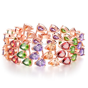 cz zirconia wide bracelet costly jewelry gemstone colorful jewellery
