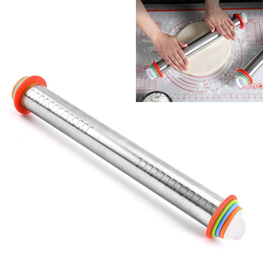 KIKIGOAL Rolling Pin Spacers French Rolling Pins for Baking Adjustable Rolling Pin With Thickness Rings Dough Roller For Cookie Pastry Pizza