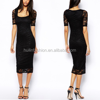 2014 new style designer replica dresses black lace midi evening dress  designs 12f6a1116