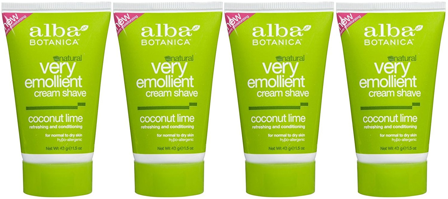 Alba Botanica Hawaiian Moisturizing Cream Shave, Coconut Lime, 1.5 oz, 4 pk