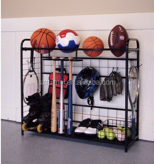 Wall Mounted Sports Equipment Organizer Storage Vertical Ball Rack