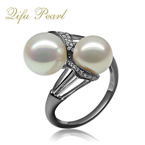 Antique 925 Silver Black Gold Plated Double Natural Pearl Ring