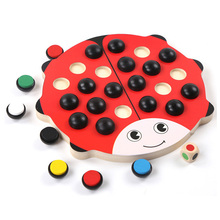 2017 New Wooden Toys MG06 Lovely Ladybug Color Memory Training Chess for Wood Kids Toys Early Educational Toys for children