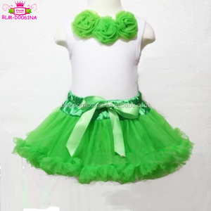 USA Apparel Xmas Baby Bright Green Pettiskirt bow party Skirt Tutu White Green Rose top 2 pcs Set 6m-6y