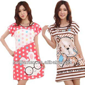 2013 Stylish Comfortable Single Jersey Sleepwear Nightgown