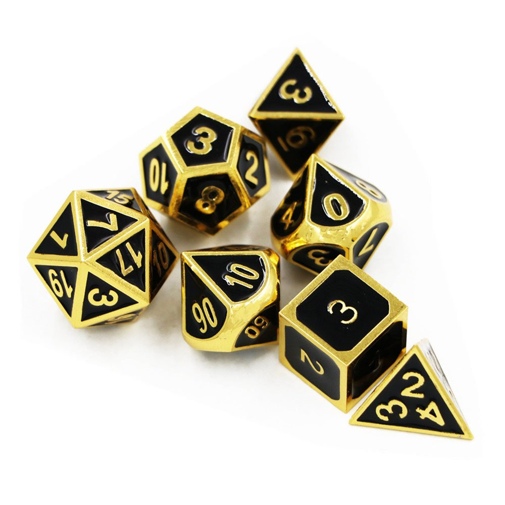 TYZEST Dungeons and Dragons Dice 7 Pack Metal Dice Set,Solid Metal Polyhedral Dice Dungeons and Dragons DND RPG MTG Table Games Dice with FREE Pouchess(Black)