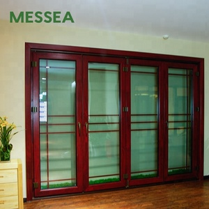 Exterior Double Entry Closet Aluminum Wood Sliding Glass Doors with Sash MGT138
