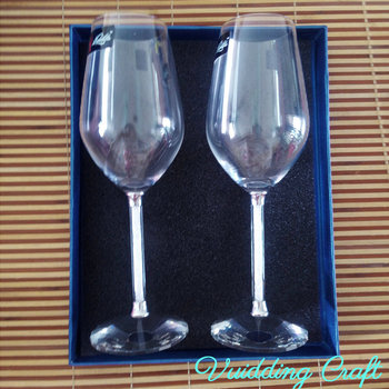 Pair of 2pcs Gold Chips Crystal Filled Champagne Flutes Glasses