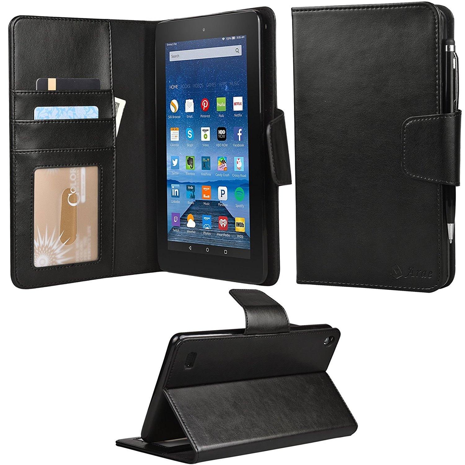 Amazon Fire 7 Case, Arae fire 7 wallet case ,Flip Folio [Kickstand Feature] PU leather wallet case with ID&Credit Card Pockets For amazon fire 7 2015 (Black)