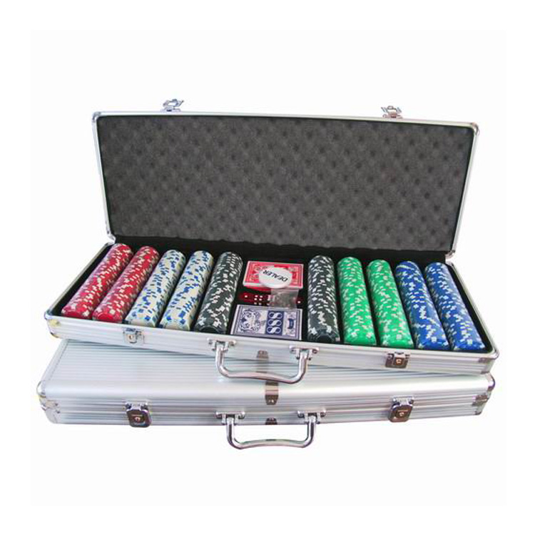 Professionele casino 500 poker chip set in aluminium silver case