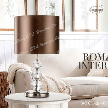 Moderne Pas Cher Maison Lampe De Table En Cristal Avec Abat Jour En Tissu Brun Etl30012 Buy Lampes De Table A La Maison Lampe Moderne En