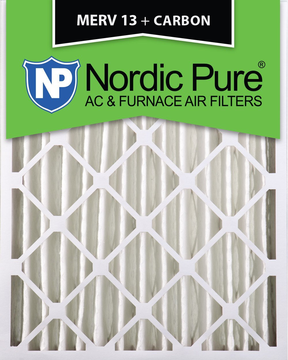 Nordic Pure 16x20x4M13+C 16-Inch by 20-Inch by 4-Inch MERV 13 Plus Carbon AC Furnace Air Filter, 6-Piece