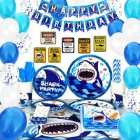 Shark Party Supplies Set Blue Ocean Pool Decorations for Boys Kids Birthday Banner Signs Utensils Serves 16 Guests