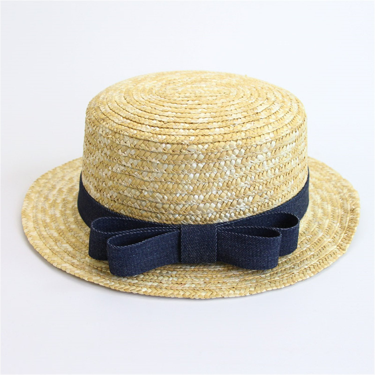 f24b43c6b5f Get Quotations · Fashion Lady Boater Sun Caps Ribbon Round Flat Top Straw  Beach Hat Panama Hat Summer Hats