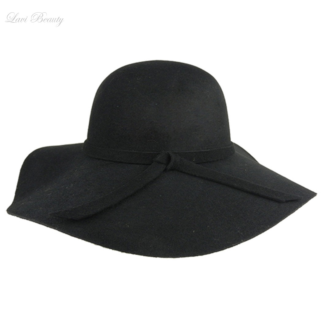 c8de6ea5 Black Beach Hats Women Wide Brim Hat New Vintage Wool Felt Bowler Fedora Hat