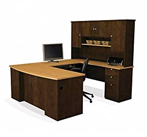 "Bestar U Shaped Office Desk W/Hutch 88.4""W X 71""L X 70.7""H Eluxe 2.5Mm Pvc Edges Durable 1"" (25,4Mm) Commercial Grade Work Surface W/Melamine Finish - Secret Maple & Chocolate"