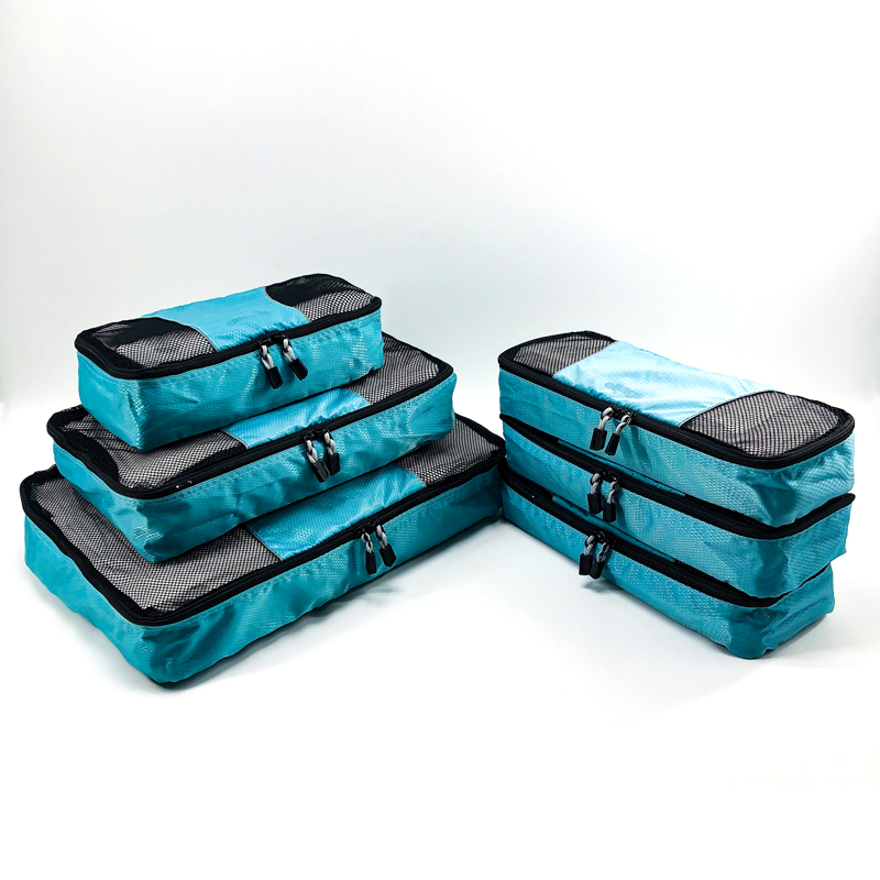 Wholesale Ripstops laundry clear mesh 6pcs set luggage travel organizer packing cubes