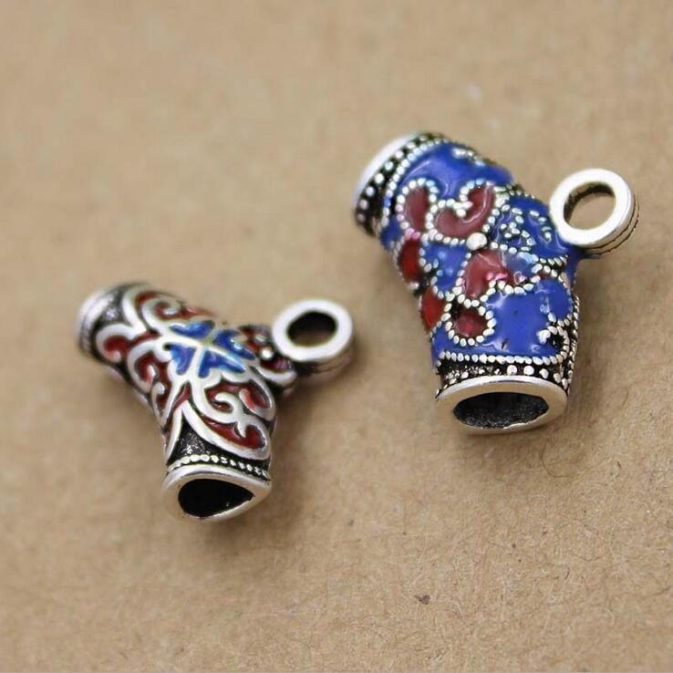 Jewelry Finding sterling silver cloisonne tube beads tube shaped spacer for DIY making