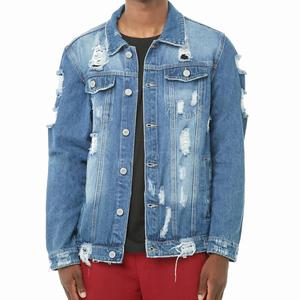 Wholesale OEM service mens ripped frayed hole denim trucker jacket