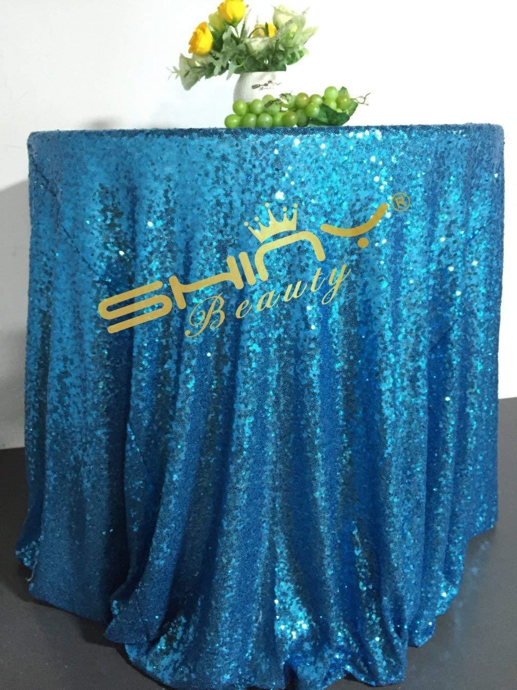ShinyBeauty 72-Inch Round Sequin Tablecloth-Light Blue, Sequin Table Linen Overlay (Light Blue)