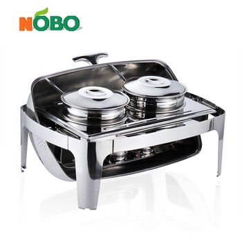 Commercial Roll Top Bain-Marie Soup Server Stainless Steel Buffet Soup Chafing Dish with Double Station