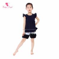 Girls Dark Blue Cotton Top Chicken Ruffle Shorts Wholesale Children's Boutique Clothing