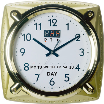 Analog Wall Clock With Date Day Temperature Humidity Led Indicator