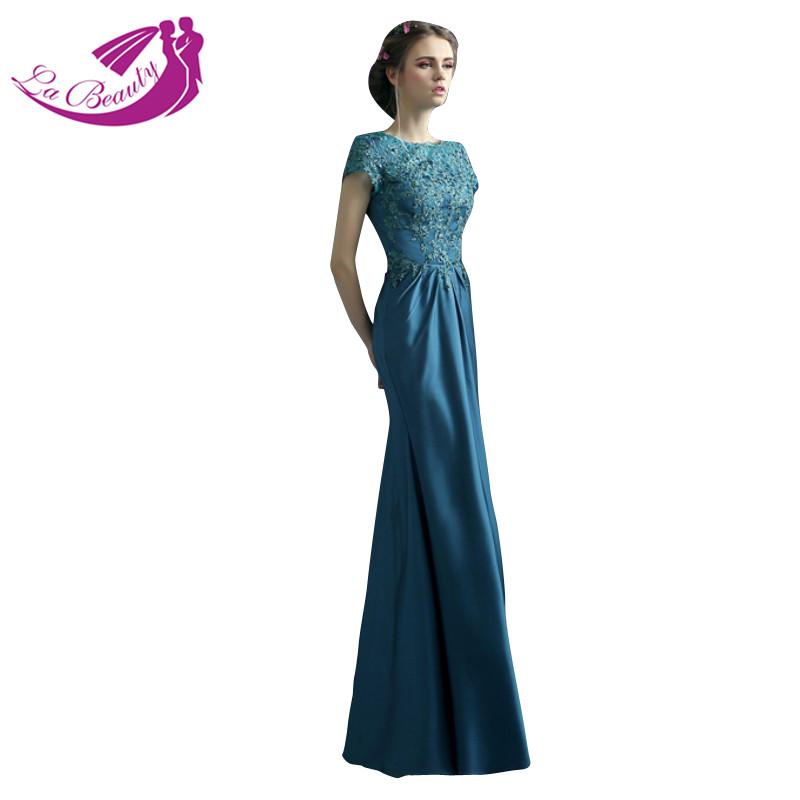 buy fashion elegant evening dress lace short sleeve formal dresses robe de. Black Bedroom Furniture Sets. Home Design Ideas