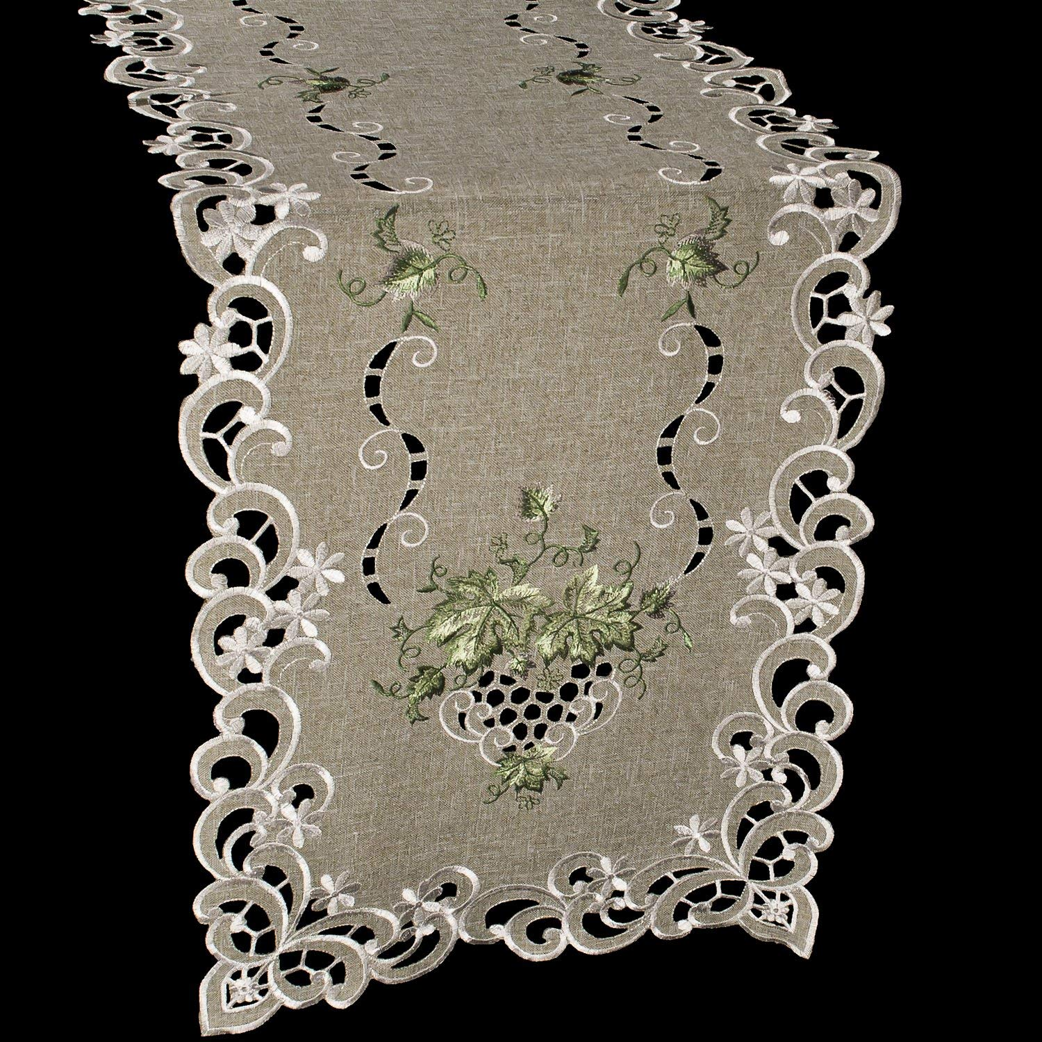 """Linens, Art and Things Embroidered Green Leaf on Antique Green Fabric Table Runner Dresser Scarf Coffee Table Doily 16"""" x 54"""""""