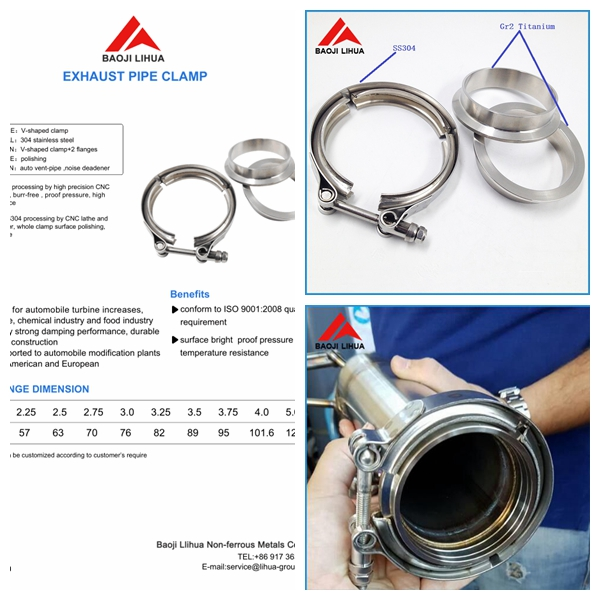 3.0inch titanium v band clamp Flange set with two titanium gr2 flange and one pcs ss 304 pipe clamp