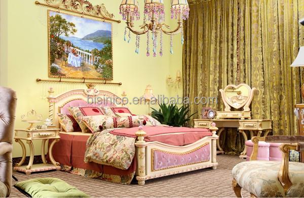 Victoria estilo niños cama de madera tallada, elegante rosa y ...