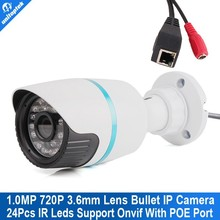 Mini security HD outdoor IR bullet poe IP Camera 1.0 Megapixel 3.6mm Lens ONVIF ip camera module webcam/work